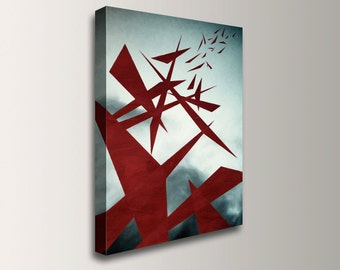 """Modern Art - Big Abstract Painting - Canvas Print - Giclee Reproduction - Red and Blue Grey - Wall Art -  """"Turbulence"""""""