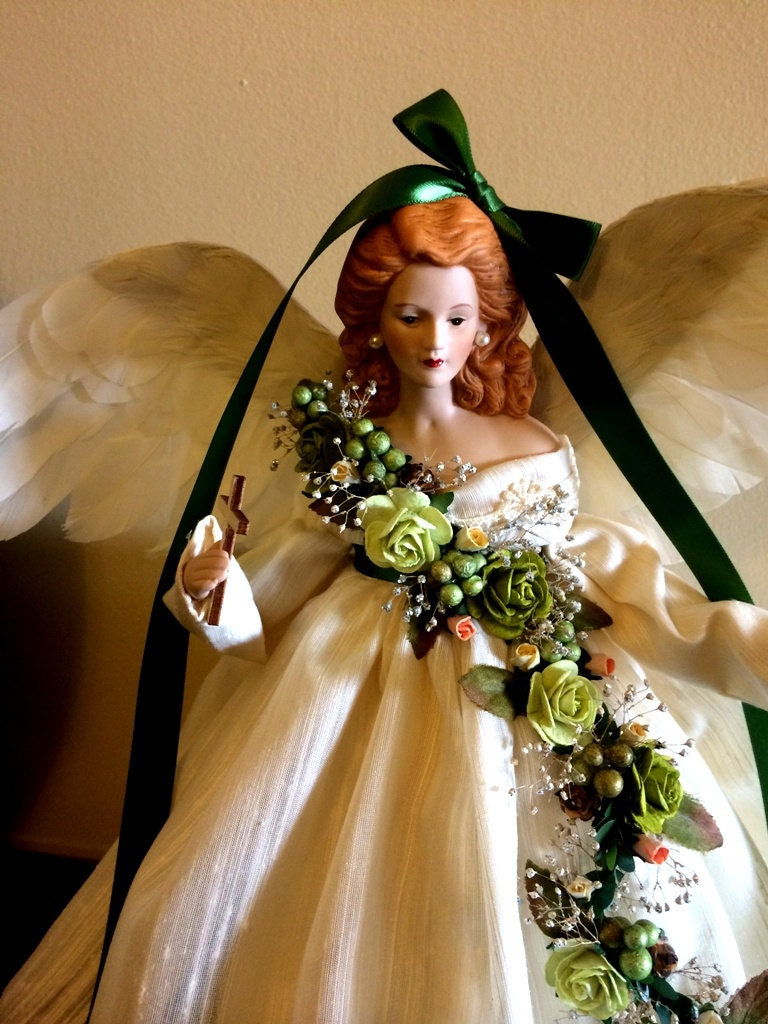 Holiday Angel Christmas Tree Topper Irish Inspired Red Haired