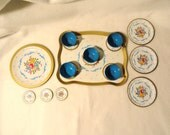 Vintage set of tin dishes, large serving tray, plates, cups 18 pieces