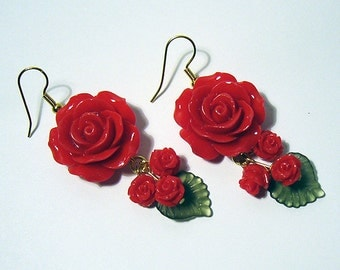 Red Roses Dangle Earrings