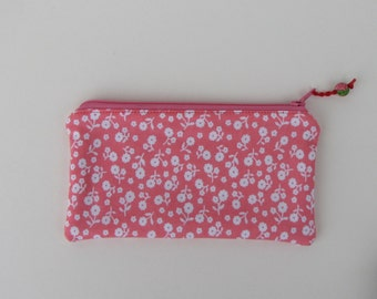 Small zippered bag - white flowers/pink cotton bag-black /white stripe interior  - coin purse - purse organizer -handmade clay bead pull tab
