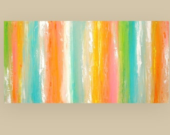 """Painting , abstract ,abstract large painting, acrylic painting , large abstract painting, wall art, canvas art by Ora Birenbaum  24x48x1.5"""""""