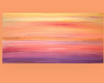 "Acrylic Abstract Original Art Canvas Painting Titled: Tropical Sunset 2 24x48x1.5"" by Ora Birenbaum"
