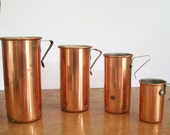 Set of Four Vintage Copper and Brass Measuring Cups. Vintage Baking. Made in Taiwan