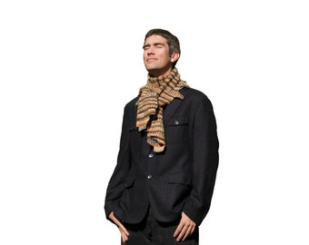 Colourful brown hand knitted woollen scarf for men and women, brown, black, white scarf,  multicolor scarf, echarpe homme, bufanda tejida