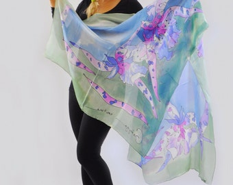 Hand painted silk Shawl/Painting shawl/Blue and rose flowers/Woman silk shawl/Blue Orchids/Luxury gift/Painted silk Silk Wrap/Coverup/Gabyga