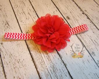 Dark Pink & White Chevron Flower Headband -  Photo Prop - Newborn Infant Baby Toddler Girls Adult