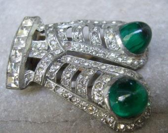 ART DECO Opulent Crystal Jeweled Fur Clip Brooch c 1940s