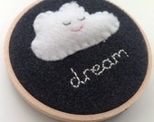 Fluffy Dream Cloud Nursery hoop art. New baby gift. Nursery decor