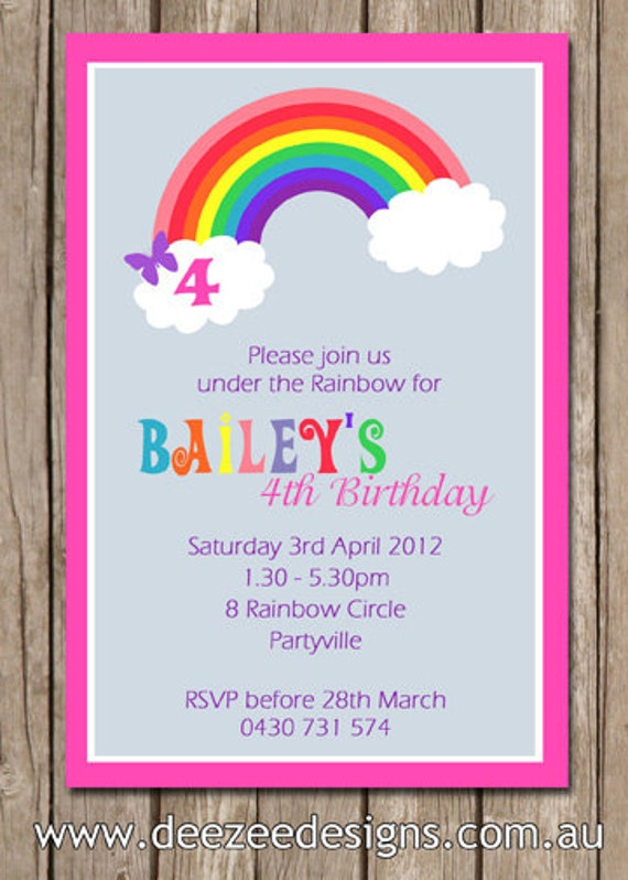 Personalised Rainbow Birthday Invitations - You Print