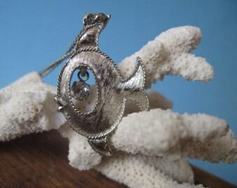 Vintage Silver tone Fish Pendant With Rhinestone Necklace