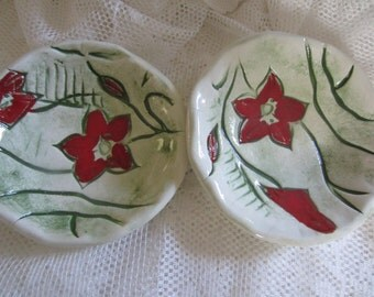 Two Bright Green and Red Flowered Ceramic Bowls