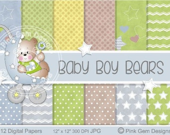 Baby Boy Bears - Digi Papers - 12 Baby Prints  Downloadable Paper Pack