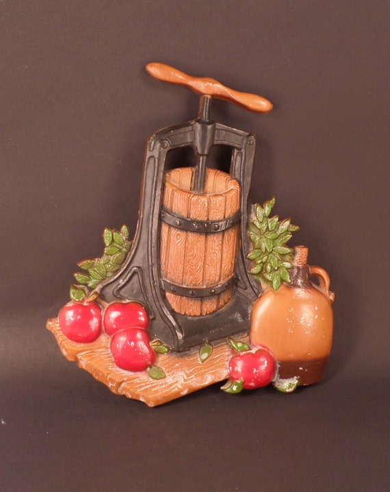 Apple Press Metal Wall Decor Vintage Homco Country Kitchen