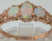 14K Rose Gold Natural Fiery Opal Ring, English Victorian Style 3 Stone Trilogy Ring, Stackable Ring - Made in England - Customize: 9K,18K