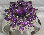 English 925 Sterling Silver Genuine Natural Amethyst Classic Cluster Flower Ring Anniversary Ring  Customizable9K14K18K Gold