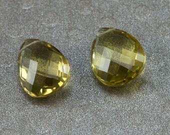 Honey Quartz Pear Briolettes - 12x10mm Beer Quartz Focal Beads - Qty 2