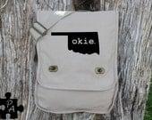 Oklahoma OKIE Canvas Messenger Bag - Laptop Bag - iPad Bag - Diaper Bag - School Bag