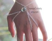 Silver Green Gem Slave Bracelet