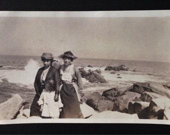 Original Antique Photograph A Day at the Seashore