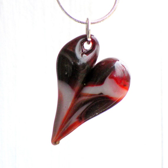 Lampwork Heart Red, Boro Hand Blown Glass Heart, Sparkles, Red and White Mixed Heart.