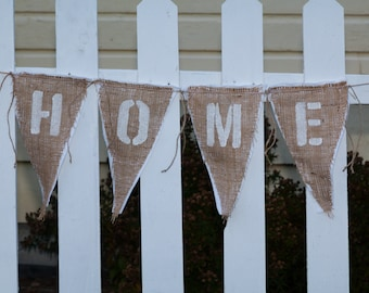 Upcycled HOME Burlap Banner (white with white felt backing) - Eco-Friendly Home Decor