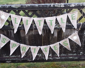 Upcycled LITTLE SPRITES Burlap Banner Lime Green Painted Letters (with White Felt Backing) Eco-Friendly Business Signage