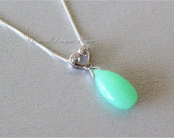 Gemstone Necklace, Chrysoprase Flower Micro Cut Flat Pear Briolette, Sterling Silver Heart Charm with CZ, Sterling Silver Box Chain. N189.
