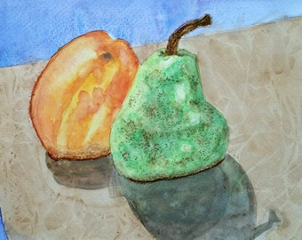Peach & Pear Original Watercolor Painting by Theresa Smith 8x10