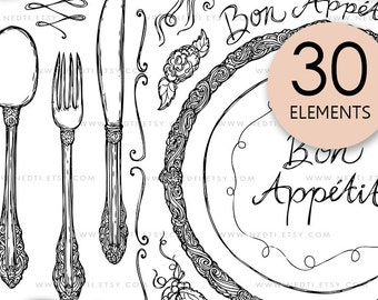 Bon Appetit Hand Drawn, Spoon, Fork, Knife, Eating Utensils, Clip Art, Clipart, Instant Download, PNG, Sketched, Swirls, Doodles, Nedti