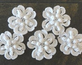 5 large white cotton crochet flower appliques decorations embellishments adornments weddings birthdays anniversaries 55 mm diameter #F023