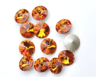 12 Tangerine 39ss Swarovski  Rivoli Rhinestones-Loose Rhinestones-Bulk Rhinestones-Wholesale Rhinestones-Loose Crystals