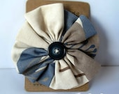 Oversized blue and grey fabric flower with brooch pin