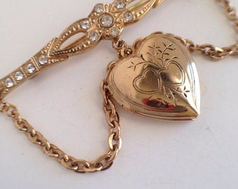 Vintage Heart Shaped Locket Brooch