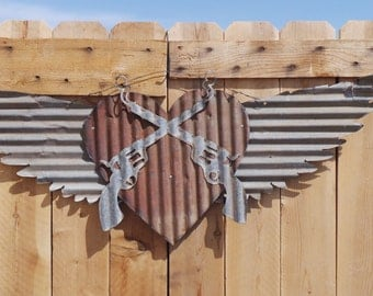 Corrugated Metal Wings with Cross Pistols and Heart/Vintage/Rustic/Wild West/  FREE SHIPPING