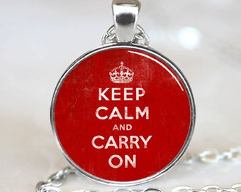 Vintage Distressed Keep Calm and Carry On Handcrafted  Necklace  Pendant with Ball Chain Included (PD0238)