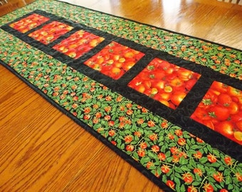 Quilted Table Runner, Tomatoes Table Topper,  Vines, Leaves, Summer Quilt, Red, Green, Black. Quiltsy Handmade