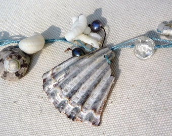 Shell Necklace, Gray, White, Blue, Brown,