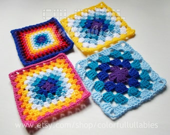 Crochet chart pattern - Sc, hdc, dc and tr Granny Square Pattern. 4 charts of the collection of Basic Crochet Shapes