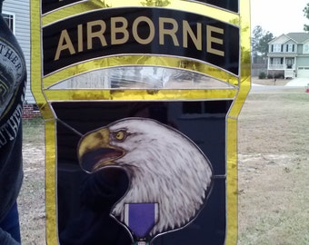101 Airborne Purple Heart stained glass SALE 100 dollars off original price!