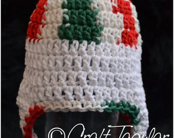 Christmas Earflap Crochet Hat 0-3 Months RTS!