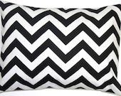 BLACK PILLOW.16x20, 16x24 or 12x20 inch.Pillow.Pillow Cover.Decorative Pillows.Black Chevron Pillow.Housewares.ZigZag.Black Pillow.Chevron