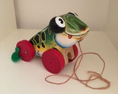 Vintage Fisher Price Jolly Jumper Wooden Pull Toy # 450
