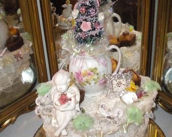 SALE....OOAK Whimsical Bottle Brush Cherub/Angel Vignette, Shabby Chic, French Country, Wedding,Victorian, Wire brush trees, Christmas ttree