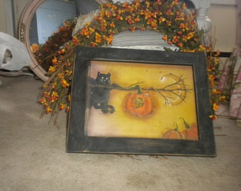 SALE....Wooden Framed Fall/Halloween print, Primitive, Country, Eclectic