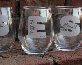 Personalized Wine Glasses, Stemless Wine Glasses, Engraved Wine Glasses, Bridesmaid Gift, Personalized, Wedding Gift, Valentines Day