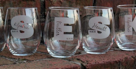 Etched Wine Glasses Wedding Gifts : Wine Glass, Stemless Wine Glasses Make Great Bridesmaid Gifts, Wedding ...