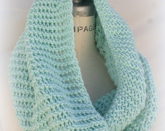 Hand Knitted Handknit snood Scarf, Mint Green, Hooded Chunky Scarf, Pretty Knit Scarf - By PiYOYO