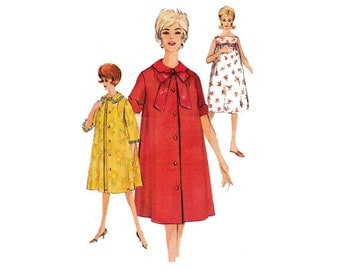 Simplicity 4214 Sewing Pattern 1960s Nightgown Bathrobe Robe Pajamas Negligee Slip Bed Jacket House Coat Retro Mod Fashion Size 14 Bust 34