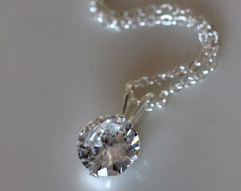 Faux diamond necklace | 2 carat solitaire diamond cubic zirconia pendant | fake diamond sterling silver | matching jewelry girlthree